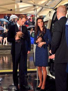 Kate and William met the dog handlers. While William talked, Kate affectionately scratched the head of a german shepherd.