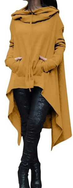 Solid Cotton Casual Long Sleeve Plus Size Hoody Look Fashion, Fashion Outfits, Womens Fashion, Fashion Design, Fashion Trends, Fall Outfits, Casual Outfits, Cute Outfits, Vetements Clothing