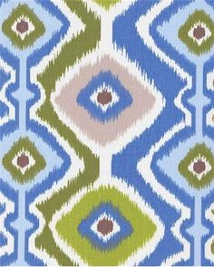 "Asem Ikat Limesky.  Heavy outdoor fabric for cushions, pillows or outdoor upholstery. 14"" up the roll repeat. 100% poly. 54"" wide."