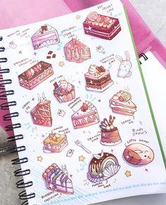 Cute Food Drawings, Kawaii Drawings, Cartoon Cupcakes, Desserts Drawing, Anime Cake, Cake Drawing, Food Cartoon, Aesthetic Stickers, Kawaii Art