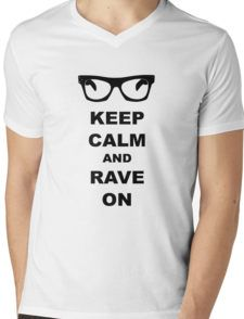 Keep Calm and Rave On - Buddy Holly Mens V-Neck T-Shirt