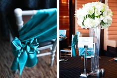M Resort Wedding Reception. Linen & Rentals: BBJ Linens & Current Events. Table Signs: Paper and Home.