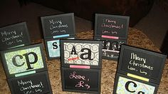 Inspired by Pinterest!!!  Dollar Frames, scrapbook paper, chalkboard paint! Extreme Cuteness!