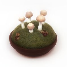 Mushroom Fairy Ring with Moss and Lichen - Nature Decor Pincushion Display Made To Order on Etsy, $30.00