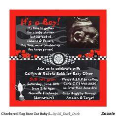 Good copy! Checkered Flag Race Car Baby Shower Invitations | Zazzle