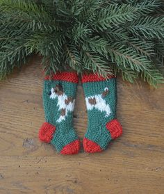 just listed! Jack Russell Terrier hand-knit Christmas Stocking Ornament - just adorable!