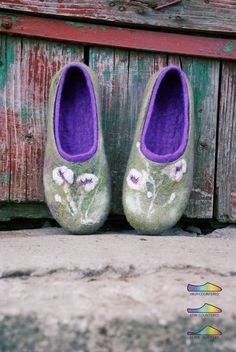 Women felted wool slippers VIOLA - Women house shoes - Green, purple - eco friendly clothing. $75.00, via Etsy.