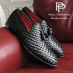 PAUL PARKMAN MEN'S TASSEL LOAFERS BLACK WOVEN CALFSKIN #paulparkman #tasselloafers #handmade Website : www.paulparkman.com