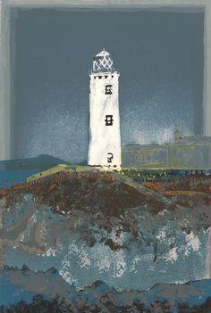 'Fanad Head Lighthouse' screenprint by Bernadette Madden Soul Boat, Kids Workshop, Irish Landscape, Rock Pools, Sculpture Art, Printmaking, Lighthouse, Screen Printing, Fine Art Prints
