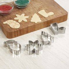Cut your delicious holiday baking in fun Christmas shapes with these metal cookie cutters. Holiday Baking, Christmas Baking, Christmas Fun, Xmas, Metal Cookie Cutters, Cookie Cutter Set, Knife Block Set, Perfect Cookie, Bakeware