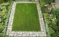 SBG says an ordinary rectangular lawn becomes this beautiful with fragments of recycled concrete laid as a border. Dig yours out and start today. Garden Edging, Garden Paths, Lawn And Garden, Garden Landscaping, Home And Garden, Rocks Garden, Garden Beds, Yoga Garden, Recycled Concrete