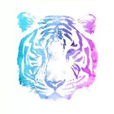 Neon Tiger #80's #Neon #Noir #Graphicdesign #Design #Art #Kunst #Pastell #Tiger #Tier #Animal #Interiordecor #Print #Bilder #Deko