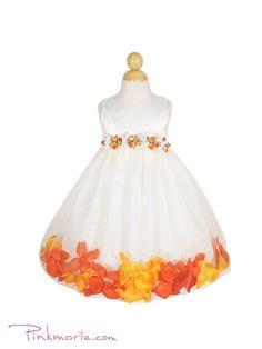 Orange Satin Bodice Skirt Baby Flower Girl Dress