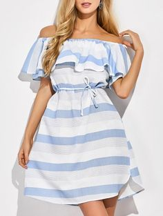 SHARE & Get it FREE | Ruffles Off The Shoulder Striped DressFor Fashion Lovers only:80,000+ Items • New Arrivals Daily Join Zaful: Get YOUR $50 NOW!