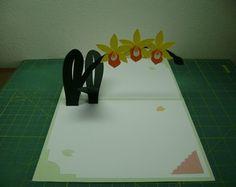 Cartão Grande Pop Up Orquídea Amarela