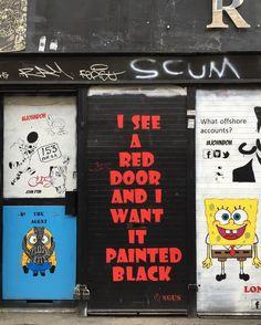 #streetart #paintitblack #iseeareddoor #rollingstones #shoreditchstreetart #bricklanestreetart #bricklane #shoreditch #londonart #art #eastlondon #london #photos_of_london #photosoflondon #lovelondon #thisislondon #londonlife #londonbylondoners #ig_london #igerslondon #maybeldner #how2where2why by ijsselmeer from Shoreditch feed from Instagram hashtag #shoreditch  www.justhype.co.uk Hype Store - Boxpark Shoreditch.