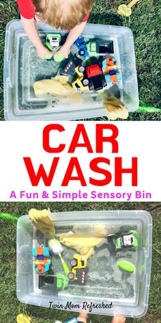 Sensory Tub Car Wash Activity for Toddlers and Preschools - Easy and Fun Sensory Bin Fun and easy sensory activity for your toddler. This will help your child work on fine motor skills while washing cars. Engaging activity for a nice day outside! Toddler Sensory Bins, Sensory Activities Toddlers, Montessori Activities, Toddler Play, Infant Activities, Sensory Play, Sensory Tubs, Motor Activities, Sensory Rooms
