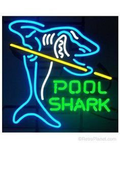 This Pool Shark Neon Sign looks sharp in your game room, rec room, or in any pool hall. This brilliant neon sign adds style to your billiard bar decor! 221 x 21 in. Pool Table Lighting, Sign Lighting, Billiard Table Lights, Billards Room, Pool Table Room, Pool Tables, Shark Pool, San Diego, Pool Signs