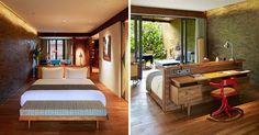 Tomando uma posição central, livre de paredes, as camas 'flutuantes' permitem novas disposições e fluxos na decoração destes dez quartos