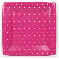 Swiss Dots Pink 10 inch Square Plates - Polka Dot - Patterns PlatesAndNapkins.com