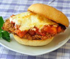 ... Fried Chicken Parmesan Burgers on Parmesan Herb Buns with Chunky