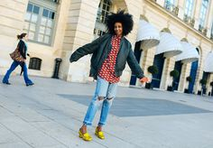 Julia Sarr Jamois in Gucci shoes. | PFW SS 2016 | Street Style | Photo: Phil Oh | vogue.com