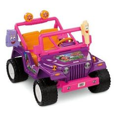 Fisher-Price Power Wheels Girls' Dora Jeep Wrangler 12-Volt Battery-Powered Ride-On, Purple