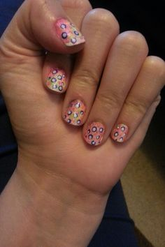 CrAzY nAiLs! Paint nails white first. Then sponge with whatever color polishes you want with a makeup sponge. Then use a toothpick to make dots! Clean up around your nails with polish remover and a Q-tip, and, done!
