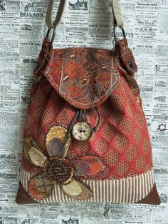 "CROSS BODY ""SADDLE"" Bag with Drawstring - Hobo Bag - Messenger Bag - Repurposed Fabrics - Bohemian - Shabby Chic - Appliqued - Eco Friendly"