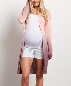 PinkBlush Coral Ombré Maternity Open Cardigan #zulily #zulilyfinds