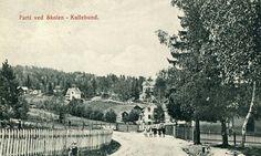 KULLEBUND. Parti ved Skolen. Barn på veien. Sykkel t.v. Brukt.Årstall:1920
