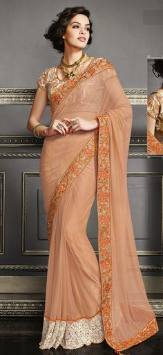 USD 85.71 Salmon Net Party Wear Saree 47538