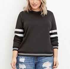 Oversize color block sweatshirt for women black stripe sweatshirts