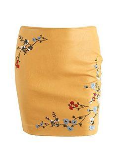 eb1b8d6cac Glamaker Womens Winter Casual Embroidery Faux Leather Skirts Mini Bodyocn  Pu Skirts Wine Yellow * Click