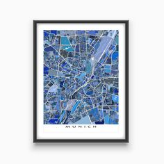 This Munich city map has an abstract art design made from of lots of little blue shapes. Each shape is actually a city block or a piece of land - and these shapes combine like a puzzle or mosaic to form this #Munich print.  You can see other things that make Munich special: * modern roads and streets * water bodies (like the Isar River) #MunichMap #MunichGermany #CityMap