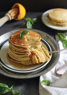 Ricotta pancakes with orange and basil