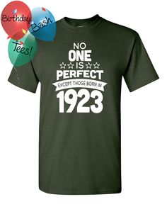 93 Year Old Birthday Shirt No One is Perfect by BirthdayBashTees