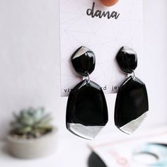 Black and silver recycled vinyl record bold statement earrings. Handcrafted vinyl record jewelry by Dana Jewellery. Statement Earrings, Dangle Earrings, How To Start Conversations, Metal Necklaces, Vinyl Records, Contemporary Design, Jewelry Collection, Repurposed, Metallic