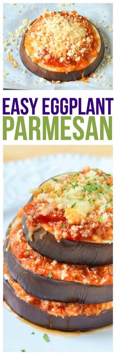 Eggplant Parmesan Parmesan Recipe using a thick and hearty sauce, cheeses and herbs. Quick and easydinner recipe that you can make in less than 30 minutes!eggplant parmesan healthy and delicious via @KnowYourProduce