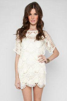 Macram Slip Dress in Ivory