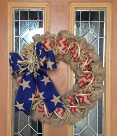 Of July Burlap Wreath Natural Blue and Red Chevron Patriotic Wreath, Patriotic Crafts, Patriotic Decorations, July Crafts, 4th Of July Wreath, Diy And Crafts, Burlap Crafts, Wreath Crafts, Diy Wreath