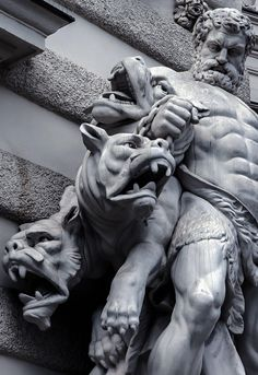 Hercules and Cerberus. The Labor of Hercules was the capture of Cerberus, guardian of Hades -Hofburg palace. Ancient Greek Sculpture, Greek Statues, Ancient Art, Angel Statues, Buddha Statues, Stone Statues, Greek Mythology Tattoos, Greek Mythology Art, Hercules Mythology