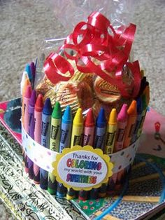 Great Teacher gift idea - full it with what your teacher likes - maybe do red and green crayons for a Christmas gift...