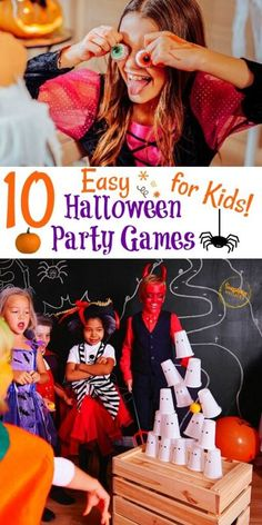 Here are 10 fun family-friendly Halloween party game ideas from Sunshine Whispers! These games are easy but still very fun and creative. Use some of these game ideas for your next Halloween party! #partyideas #halloweenparty #kidgames #easygames #partygames #parties