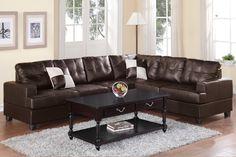 Vista Espresso Bonded Leather Sectional Sofa - Magnifique Furniture