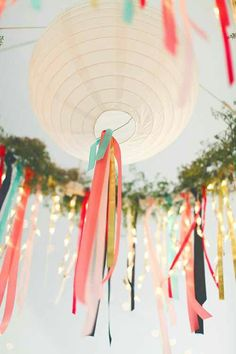 Party Lanterns With Loosely Tied Dollar Store Streamers