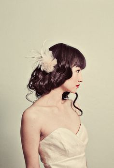 Sparkle tulle flower and feather hair pin by mignonnehandmade, $58.00