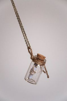 Necklace Message in a bottle long necklace with by SilviaWithLove, €10.90
