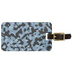 Dusk Blue - Aquamarine Camouflage Print PANTONE Tags For Luggage
