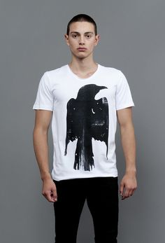 "T-SHIRT ""RAVEN"" // Artist: Annie for Ingmar Studio. Click on the image to see more. #art #fashion #menswear #tshirt #frankfurt #rave #raven #rabe #berlin"